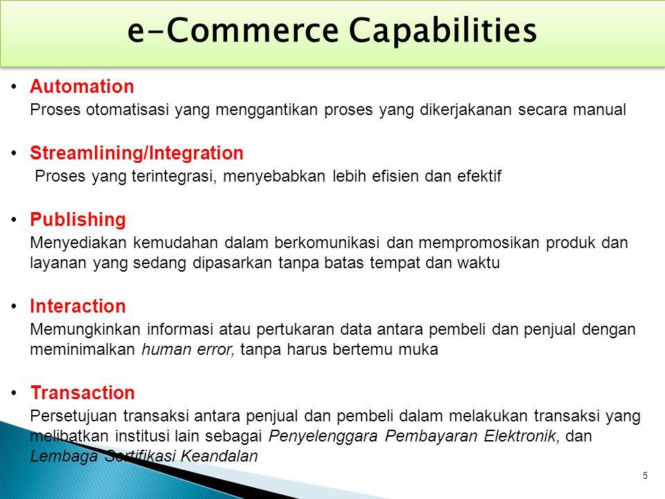 Automation Proses otomatisasi yang menggantikan proses yang dikerjakanan secara manual Streamlining/Integration Proses yang terintegrasi, menyebabkan