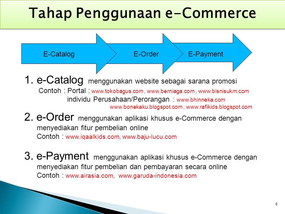 Tahap Penggunaan e-Commerce E-CatalogE-OrderE-Payment 1.e-Catalog menggunakan website sebagai sarana promosi Contoh : Portal : www.tokobagus.com, www.