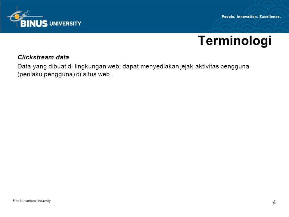Bina Nusantara University 4 Terminologi Clickstream data Data yang dibuat di lingkungan web; dapat menyediakan jejak aktivitas pengguna (perilaku pengguna) di situs web.