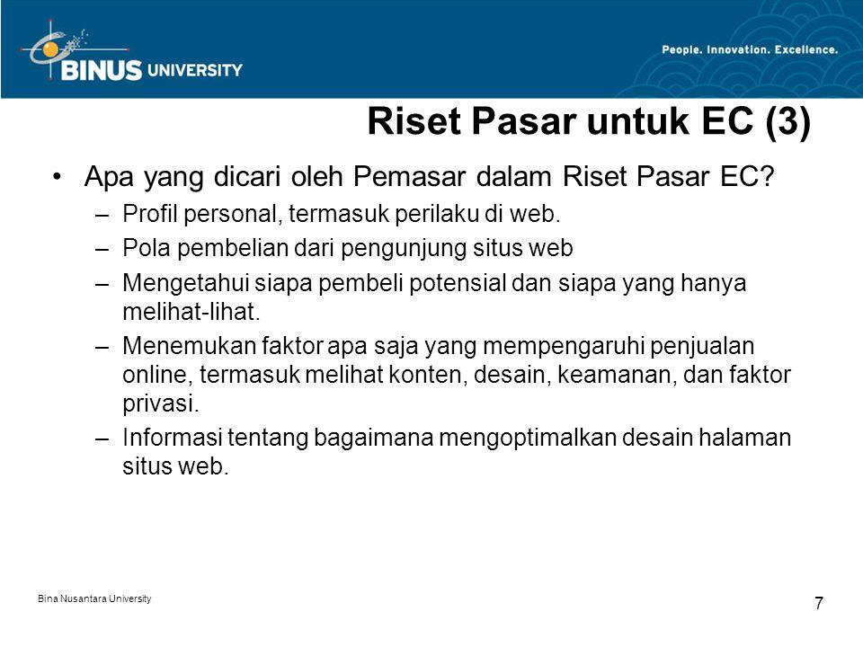 Bina Nusantara University 7 Riset Pasar untuk EC (3) Apa yang dicari oleh Pemasar dalam Riset Pasar EC.