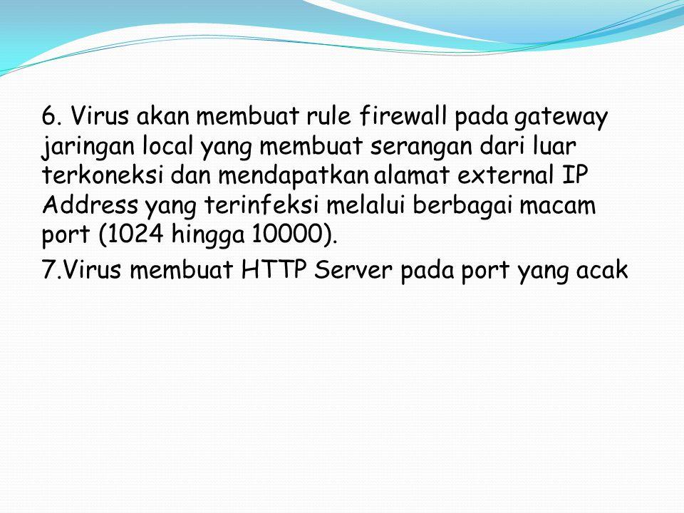 6. Virus akan membuat rule firewall pada gateway jaringan local yang membuat serangan dari luar terkoneksi dan mendapatkan alamat external IP Address