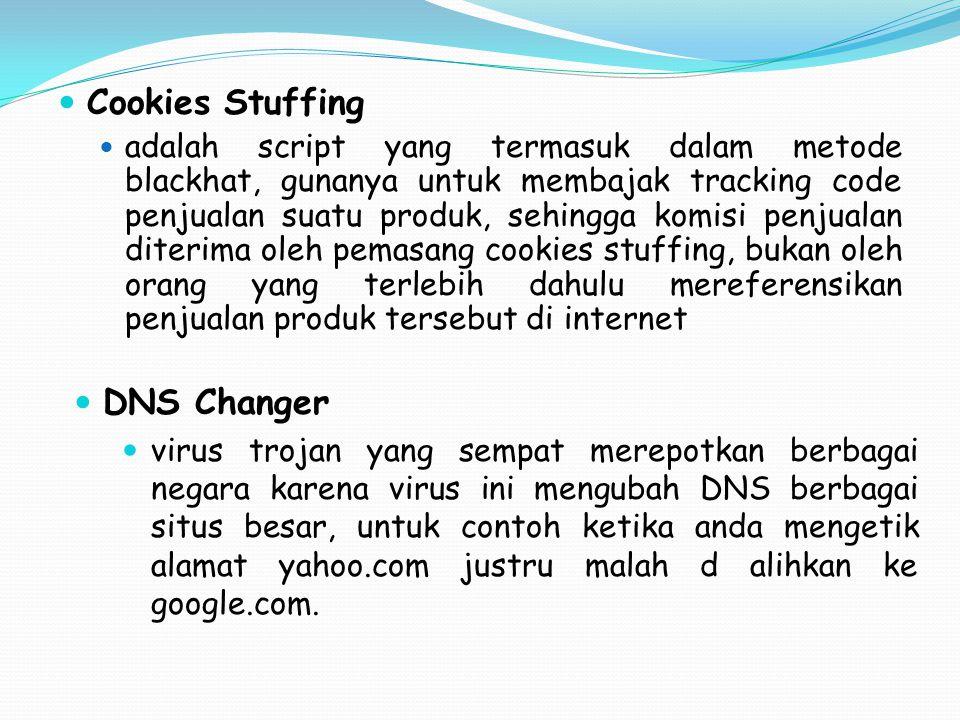 Cookies Stuffing adalah script yang termasuk dalam metode blackhat, gunanya untuk membajak tracking code penjualan suatu produk, sehingga komisi penju