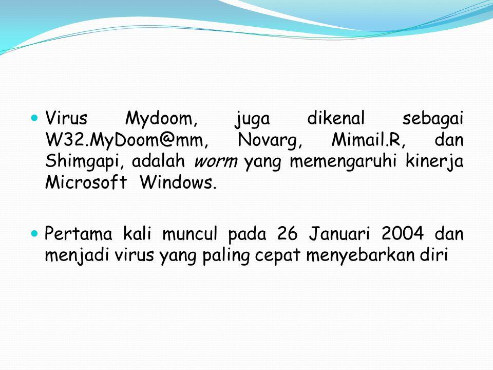 Virus Mydoom, juga dikenal sebagai W32.MyDoom@mm, Novarg, Mimail.R, dan Shimgapi, adalah worm yang memengaruhi kinerja Microsoft Windows. Pertama kali