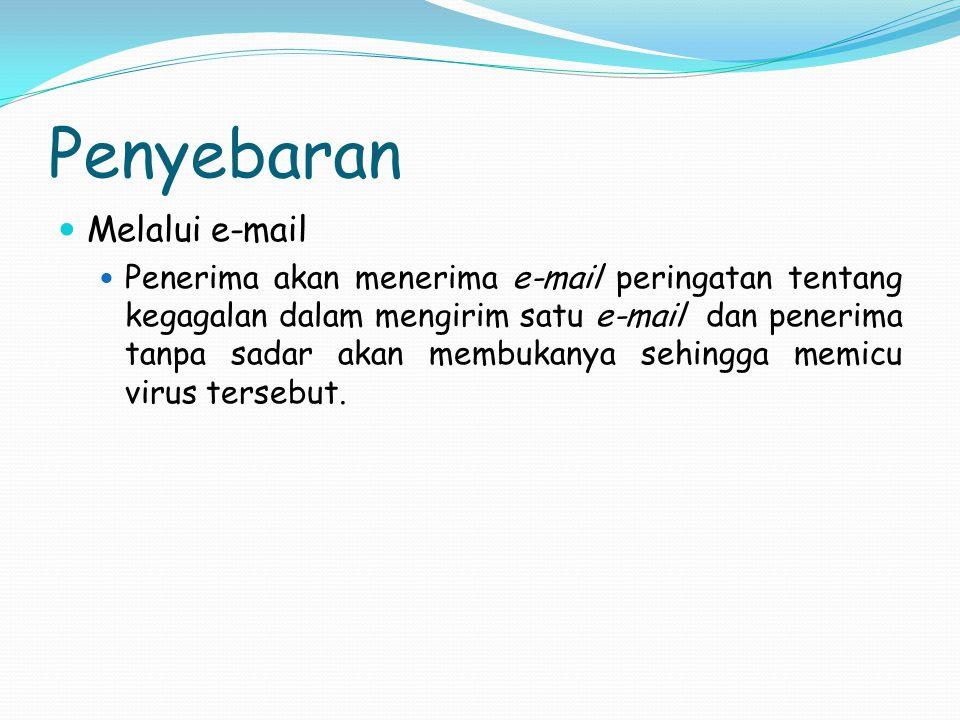 Penyebaran Melalui e-mail Penerima akan menerima e-mail peringatan tentang kegagalan dalam mengirim satu e-mail dan penerima tanpa sadar akan membukan
