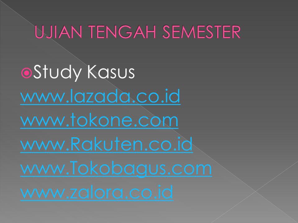  Study Kasus www.lazada.co.id www.tokone.com www.Rakuten.co.id www.Tokobagus.com www.zalora.co.id