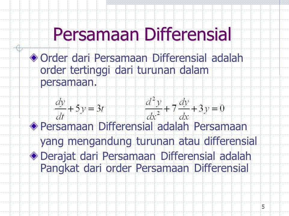 5 Persamaan Differensial Order dari Persamaan Differensial adalah order tertinggi dari turunan dalam persamaan. Persamaan Differensial adalah Persamaa