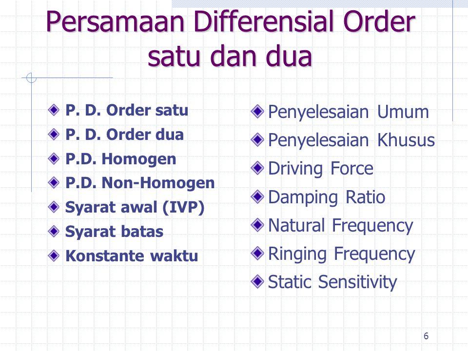 6 Persamaan Differensial Order satu dan dua P. D. Order satu P. D. Order dua P.D. Homogen P.D. Non-Homogen Syarat awal (IVP) Syarat batas Konstante wa