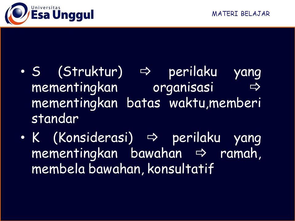 MATERI BELAJAR S (Struktur)  perilaku yang mementingkan organisasi  mementingkan batas waktu,memberi standar K (Konsiderasi)  perilaku yang mementi