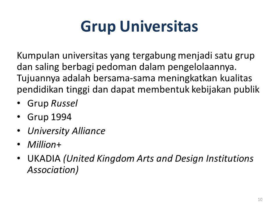 Grup Universitas Kumpulan universitas yang tergabung menjadi satu grup dan saling berbagi pedoman dalam pengelolaannya. Tujuannya adalah bersama-sama