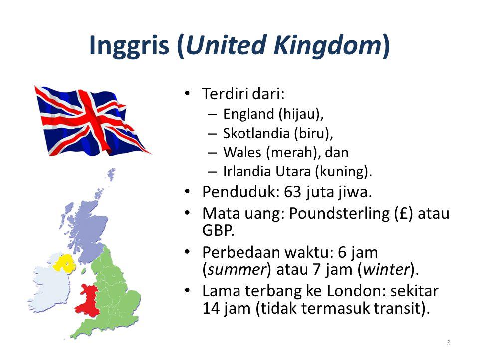 Inggris (United Kingdom) Terdiri dari: – England (hijau), – Skotlandia (biru), – Wales (merah), dan – Irlandia Utara (kuning). Penduduk: 63 juta jiwa.