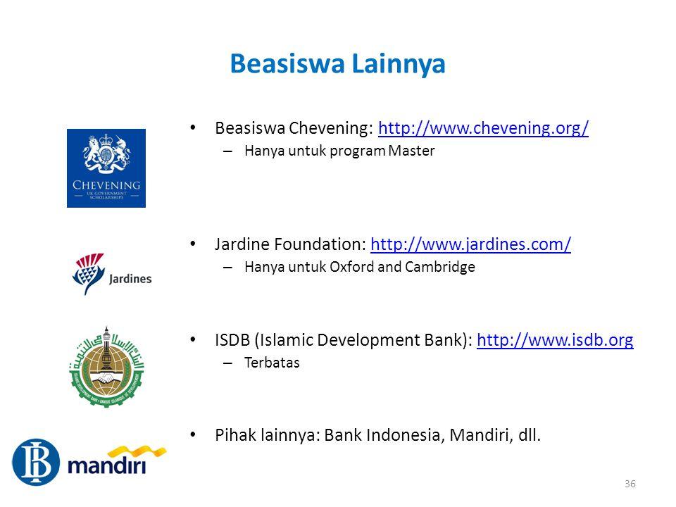 Beasiswa Lainnya Beasiswa Chevening: http://www.chevening.org/http://www.chevening.org/ – Hanya untuk program Master Jardine Foundation: http://www.ja