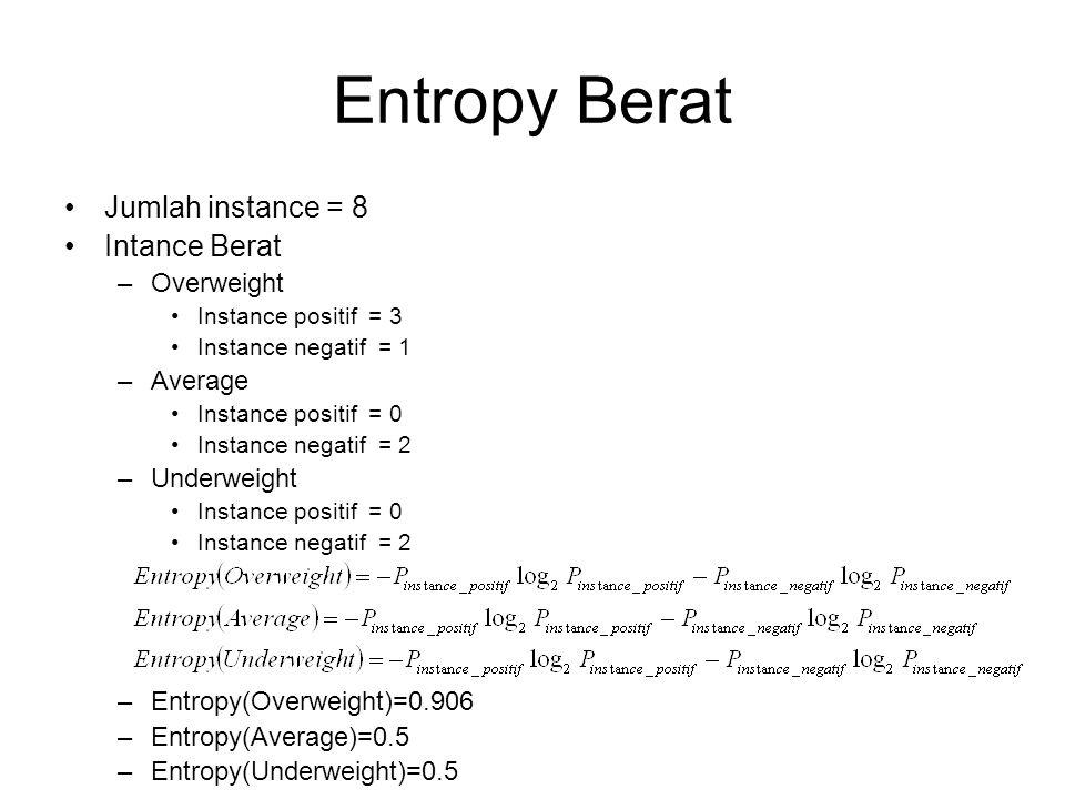 Entropy Berat Jumlah instance = 8 Intance Berat –Overweight Instance positif = 3 Instance negatif = 1 –Average Instance positif = 0 Instance negatif =
