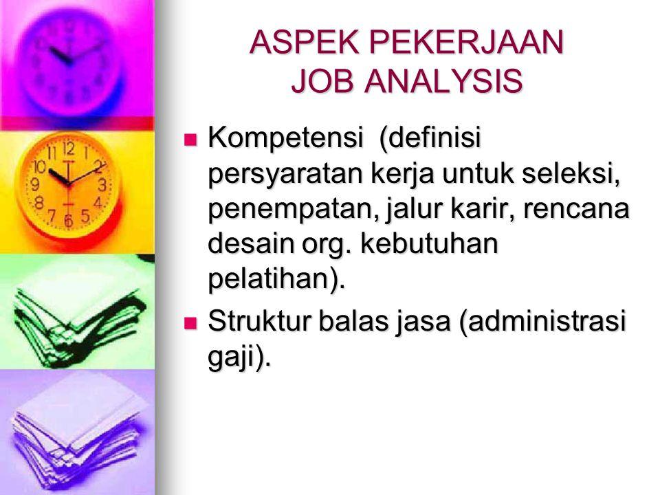 ASPEK PEKERJAAN JOB ANALYSIS Kompetensi (definisi persyaratan kerja untuk seleksi, penempatan, jalur karir, rencana desain org. kebutuhan pelatihan).