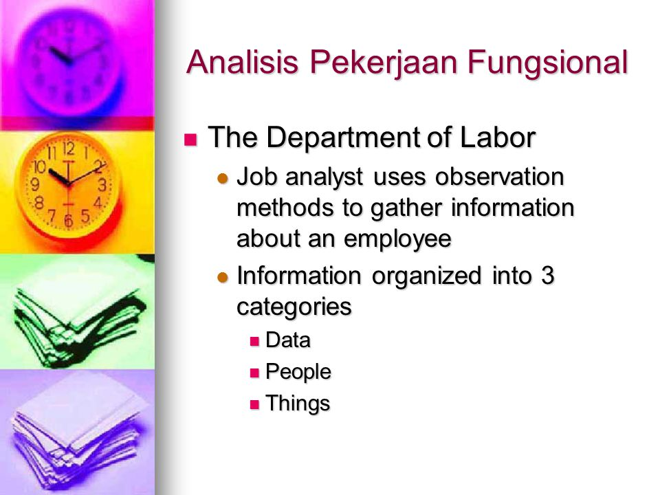 Analisis Pekerjaan Fungsional The Department of Labor The Department of Labor Job analyst uses observation methods to gather information about an employee Job analyst uses observation methods to gather information about an employee Information organized into 3 categories Information organized into 3 categories Data Data People People Things Things