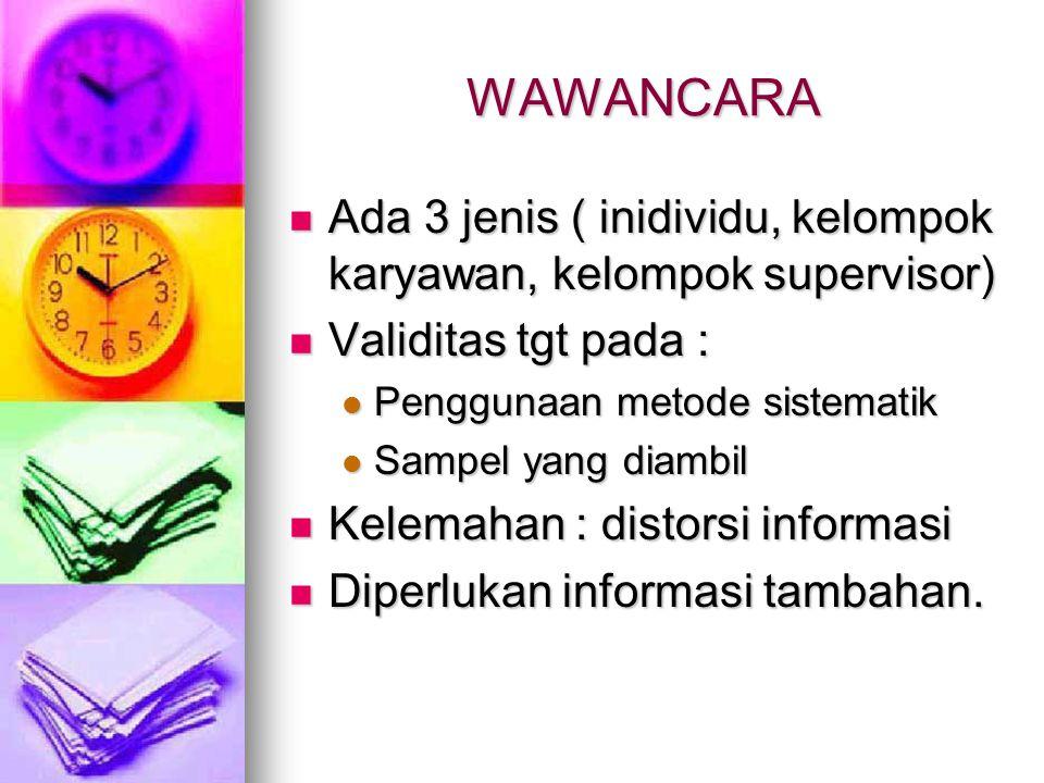 WAWANCARA Ada 3 jenis ( inidividu, kelompok karyawan, kelompok supervisor) Ada 3 jenis ( inidividu, kelompok karyawan, kelompok supervisor) Validitas