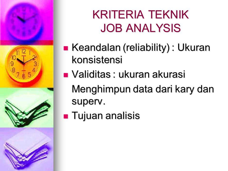 KRITERIA TEKNIK JOB ANALYSIS Keandalan (reliability) : Ukuran konsistensi Keandalan (reliability) : Ukuran konsistensi Validitas : ukuran akurasi Vali