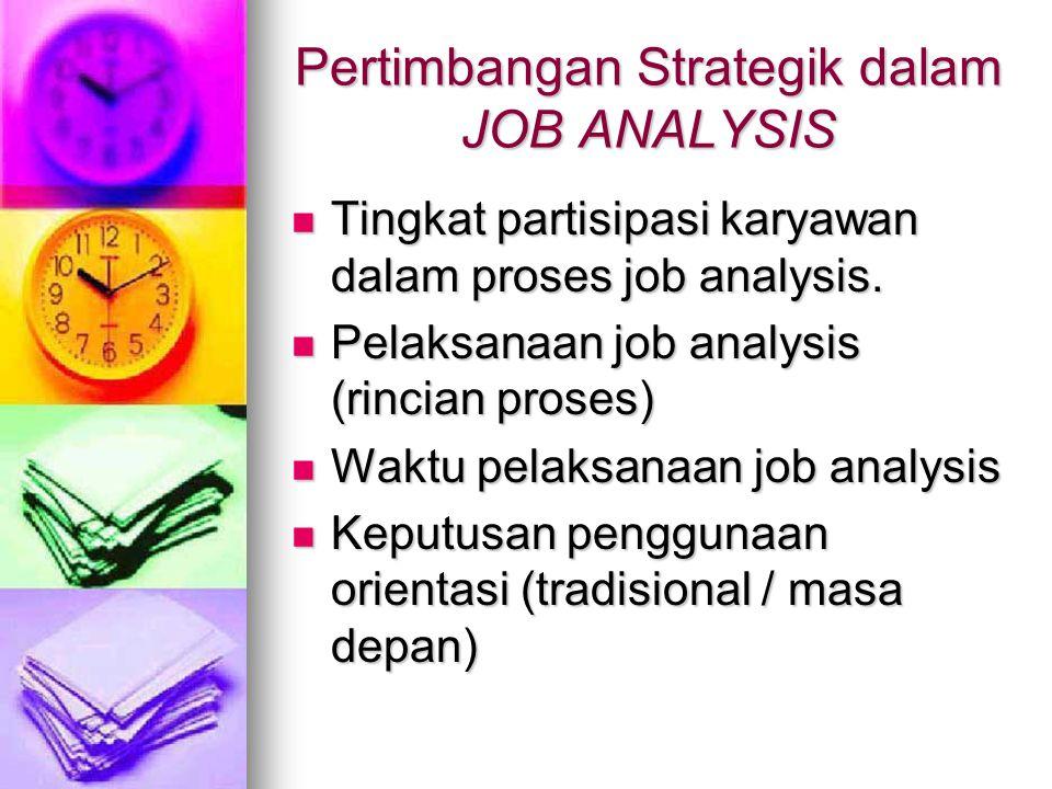 Pertimbangan Strategik dalam JOB ANALYSIS Tingkat partisipasi karyawan dalam proses job analysis. Tingkat partisipasi karyawan dalam proses job analys