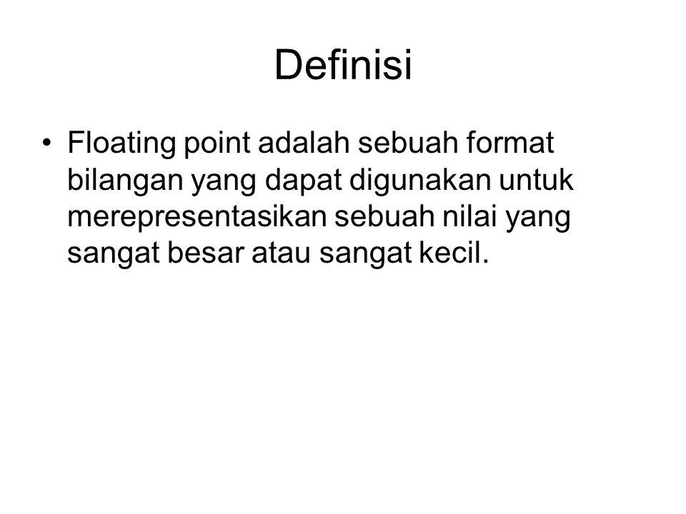 Definisi Floating point adalah sebuah format bilangan yang dapat digunakan untuk merepresentasikan sebuah nilai yang sangat besar atau sangat kecil.