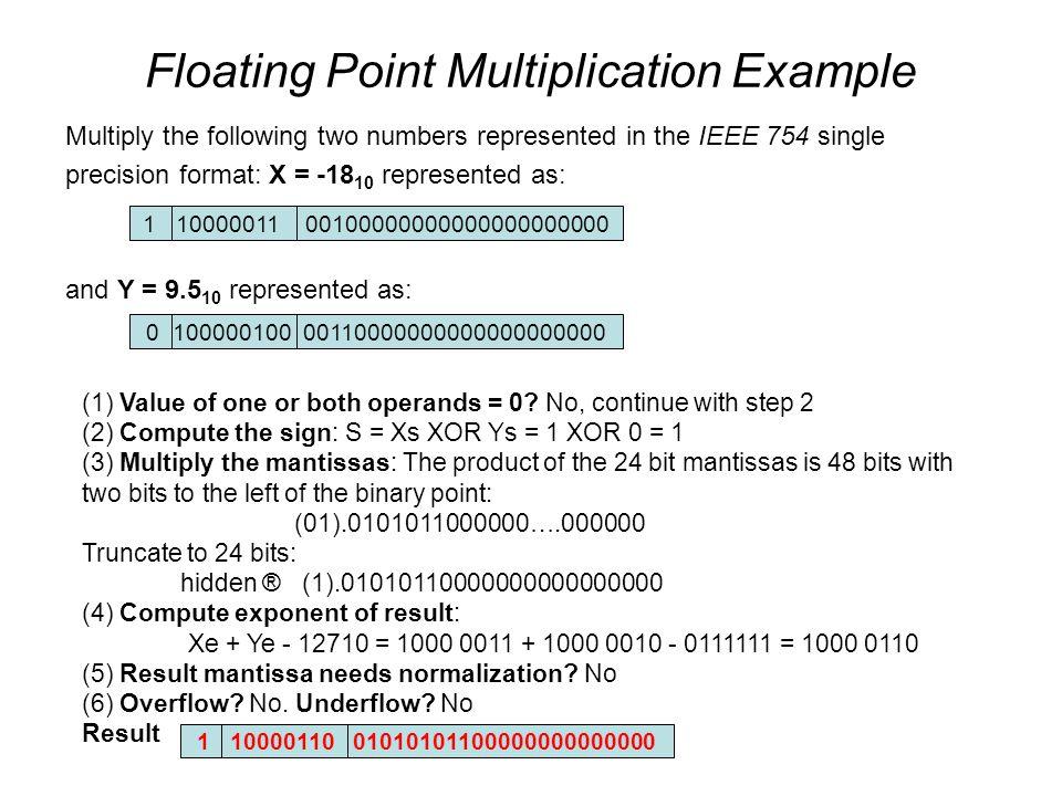 IEEE 754 Single precision Multiplication Rounding terjadi dalam floating point multiplication saat mantissa berubah dari 48bit jadi 24 bit.