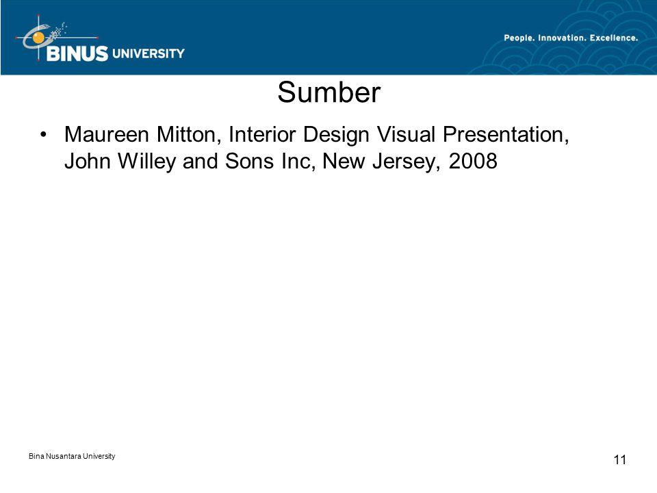 Sumber Maureen Mitton, Interior Design Visual Presentation, John Willey and Sons Inc, New Jersey, 2008 Bina Nusantara University 11