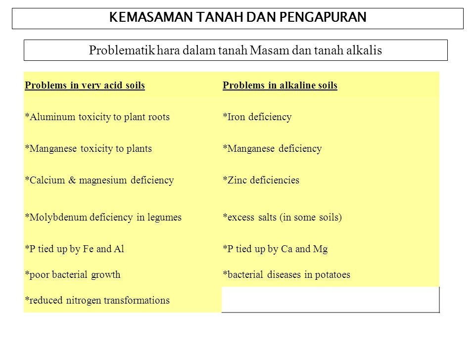 KEMASAMAN TANAH DAN PENGAPURAN Problematik hara dalam tanah Masam dan tanah alkalis Problems in very acid soilsProblems in alkaline soils *Aluminum toxicity to plant roots*Iron deficiency *Manganese toxicity to plants*Manganese deficiency *Calcium & magnesium deficiency*Zinc deficiencies *Molybdenum deficiency in legumes*excess salts (in some soils) *P tied up by Fe and Al*P tied up by Ca and Mg *poor bacterial growth*bacterial diseases in potatoes *reduced nitrogen transformations