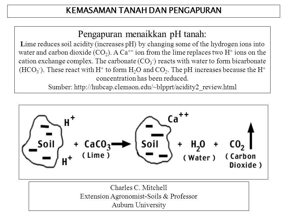 KEMASAMAN TANAH DAN PENGAPURAN Pengapuran menaikkan pH tanah: Lime reduces soil acidity (increases pH) by changing some of the hydrogen ions into wate