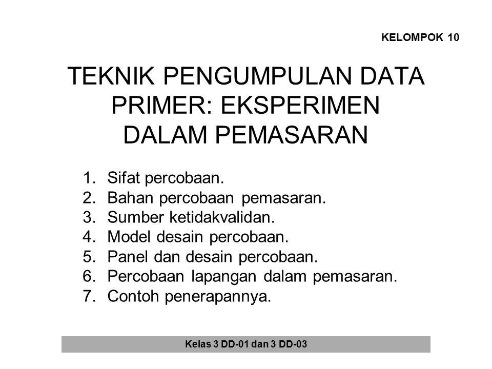 TEKNIK PENGUMPULAN DATA PRIMER: EKSPERIMEN DALAM PEMASARAN KELOMPOK 10 1.Sifat percobaan. 2.Bahan percobaan pemasaran. 3.Sumber ketidakvalidan. 4.Mode