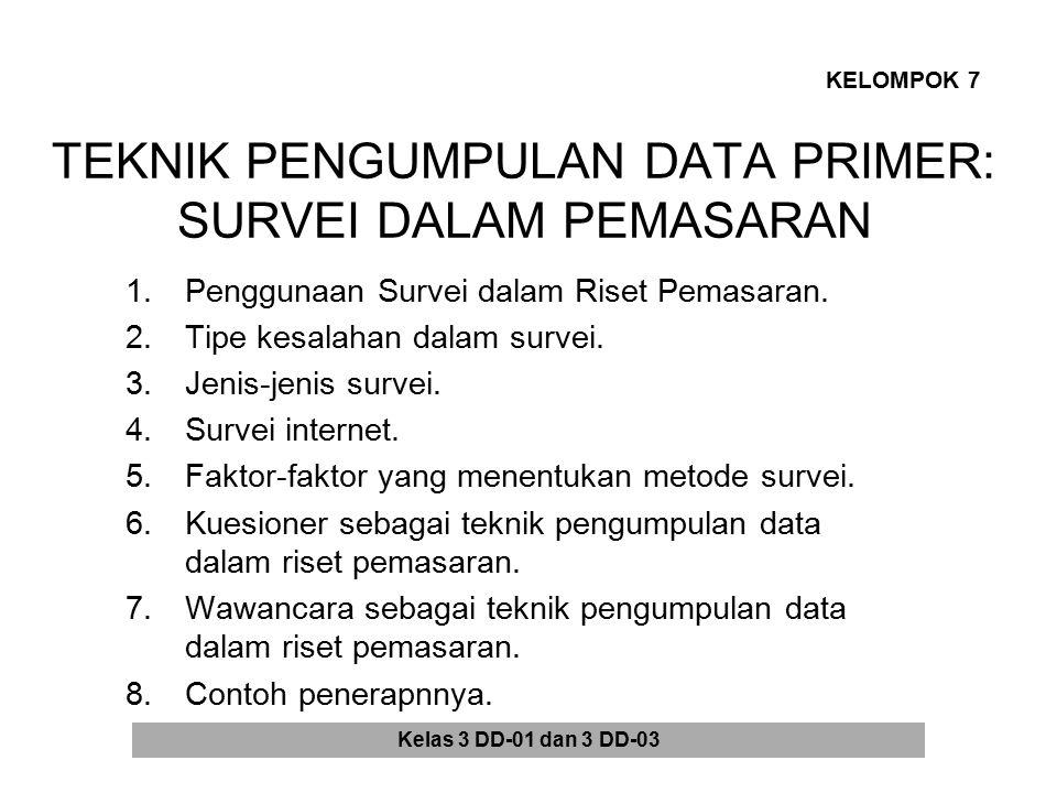 TEKNIK PENGUMPULAN DATA PRIMER: SURVEI DALAM PEMASARAN 1.Penggunaan Survei dalam Riset Pemasaran. 2.Tipe kesalahan dalam survei. 3.Jenis-jenis survei.