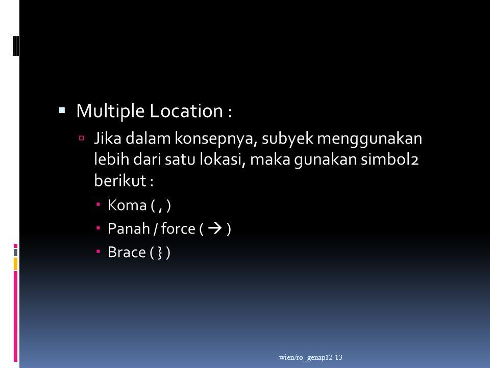  Multiple Location :  Jika dalam konsepnya, subyek menggunakan lebih dari satu lokasi, maka gunakan simbol2 berikut :  Koma (, )  Panah / force (  )  Brace ( } ) wien/ro_genap12-13