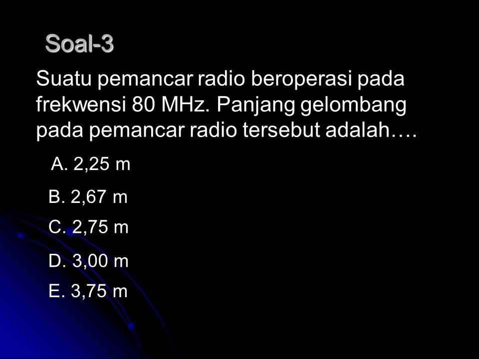Soal-2 Di bawah ini adalah sifat-sifat gelombang elektromagnetik. 1) Dapat dipantulkan 2) Dapat di biaskan 3) Dapat di lenturkan 4) Dapat polarisasika