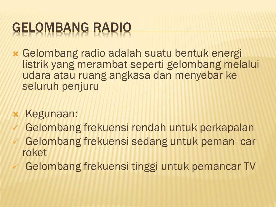  Gelombang radio adalah suatu bentuk energi listrik yang merambat seperti gelombang melalui udara atau ruang angkasa dan menyebar ke seluruh penjuru  Kegunaan: Gelombang frekuensi rendah untuk perkapalan Gelombang frekuensi sedang untuk peman- car roket Gelombang frekuensi tinggi untuk pemancar TV
