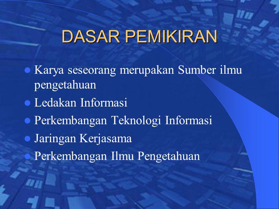 DASAR PEMIKIRAN Karya seseorang merupakan Sumber ilmu pengetahuan Ledakan Informasi Perkembangan Teknologi Informasi Jaringan Kerjasama Perkembangan Ilmu Pengetahuan