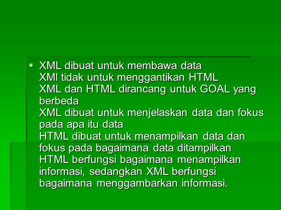  XML dibuat untuk membawa data XMl tidak untuk menggantikan HTML XML dan HTML dirancang untuk GOAL yang berbeda XML dibuat untuk menjelaskan data dan fokus pada apa itu data HTML dibuat untuk menampilkan data dan fokus pada bagaimana data ditampilkan HTML berfungsi bagaimana menampilkan informasi, sedangkan XML berfungsi bagaimana menggambarkan informasi.