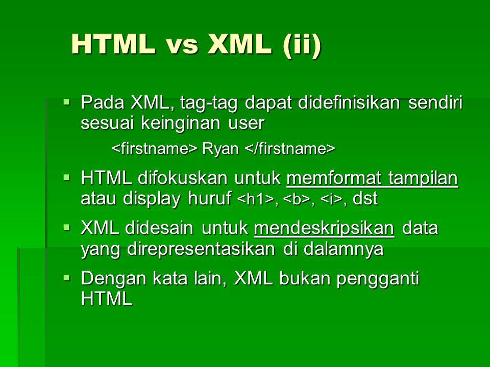HTML vs XML (ii)  Pada XML, tag-tag dapat didefinisikan sendiri sesuai keinginan user Ryan Ryan  HTML difokuskan untuk memformat tampilan atau display huruf,,, dst  XML didesain untuk mendeskripsikan data yang direpresentasikan di dalamnya  Dengan kata lain, XML bukan pengganti HTML