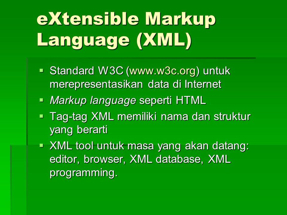 eXtensible Markup Language (XML)  Standard W3C (www.w3c.org) untuk merepresentasikan data di Internet  Markup language seperti HTML  Tag-tag XML memiliki nama dan struktur yang berarti  XML tool untuk masa yang akan datang: editor, browser, XML database, XML programming.