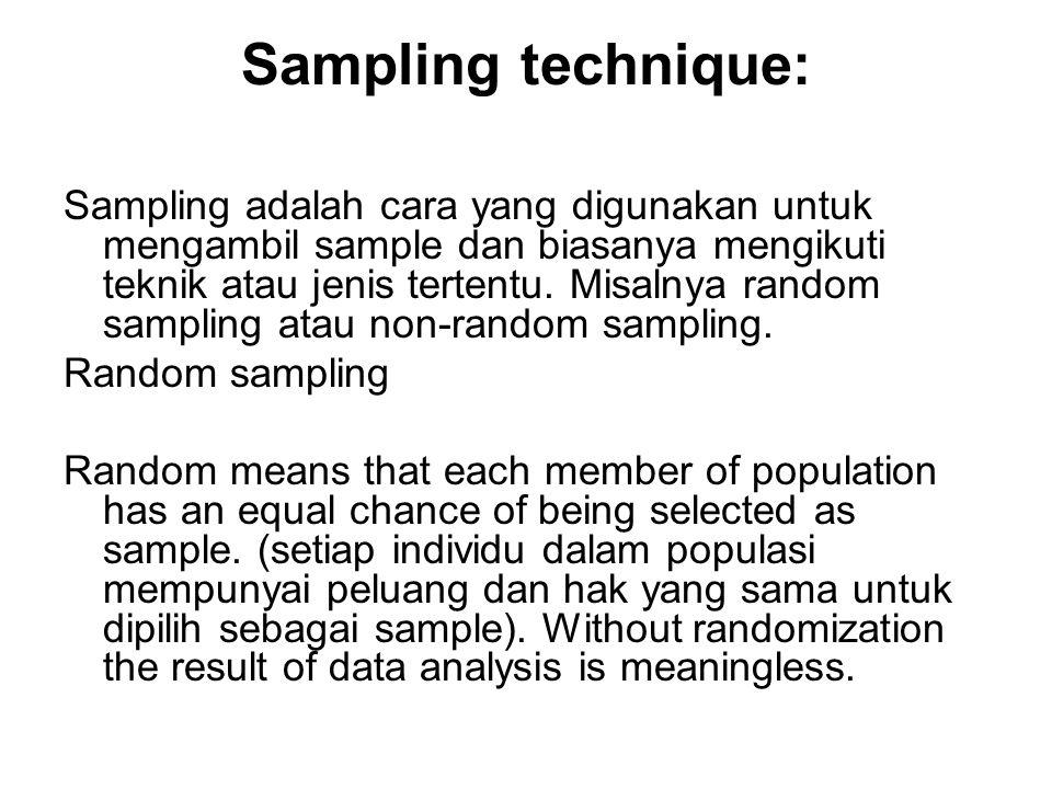 Sampling technique: Sampling adalah cara yang digunakan untuk mengambil sample dan biasanya mengikuti teknik atau jenis tertentu.