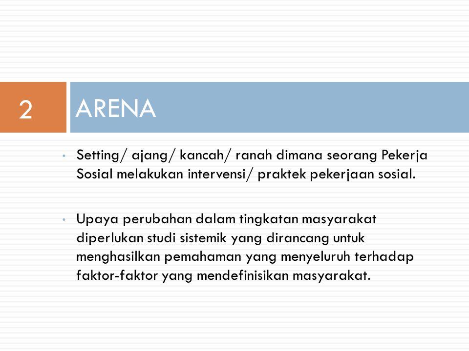Setting/ ajang/ kancah/ ranah dimana seorang Pekerja Sosial melakukan intervensi/ praktek pekerjaan sosial.