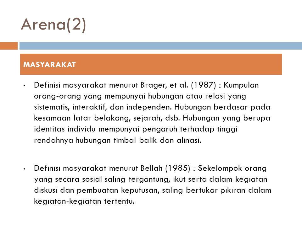 Arena(2) Definisi masyarakat menurut Brager, et al.
