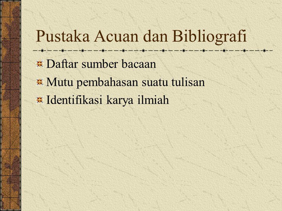 Pustaka Acuan dan Bibliografi Daftar sumber bacaan Mutu pembahasan suatu tulisan Identifikasi karya ilmiah