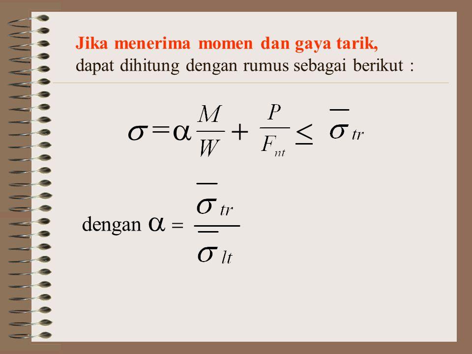 Jika menerima momen dan gaya tarik, dapat dihitung dengan rumus sebagai berikut :  =  dengan   