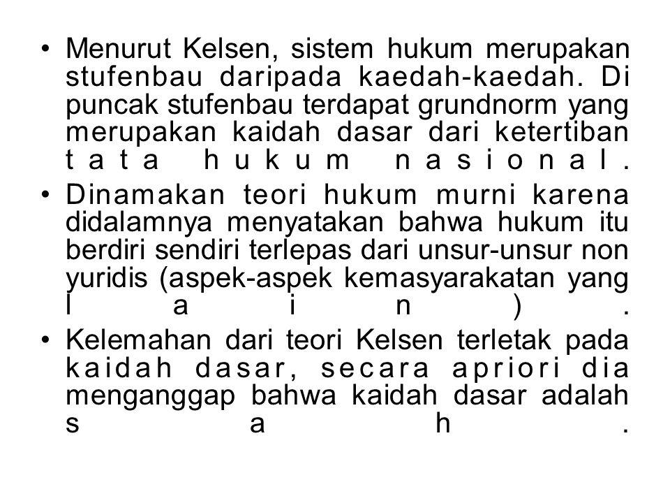 Menurut Kelsen, sistem hukum merupakan stufenbau daripada kaedah-kaedah. Di puncak stufenbau terdapat grundnorm yang merupakan kaidah dasar dari keter