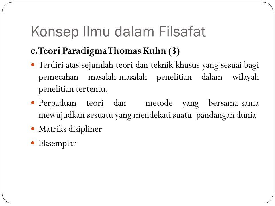 Konsep Ilmu dalam Filsafat c. Teori Paradigma Thomas Kuhn (3) Terdiri atas sejumlah teori dan teknik khusus yang sesuai bagi pemecahan masalah-masalah