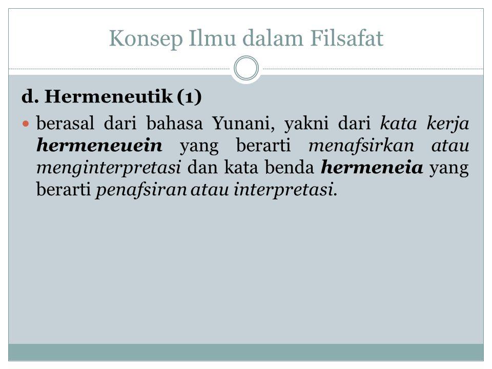 Konsep Ilmu dalam Filsafat d. Hermeneutik (1) berasal dari bahasa Yunani, yakni dari kata kerja hermeneuein yang berarti menafsirkan atau menginterpre
