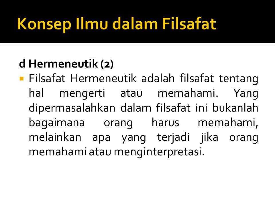 d Hermeneutik (2)  Filsafat Hermeneutik adalah filsafat tentang hal mengerti atau memahami. Yang dipermasalahkan dalam filsafat ini bukanlah bagaiman