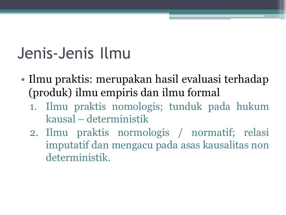 Jenis-Jenis Ilmu Ilmu praktis: merupakan hasil evaluasi terhadap (produk) ilmu empiris dan ilmu formal 1.Ilmu praktis nomologis; tunduk pada hukum kau