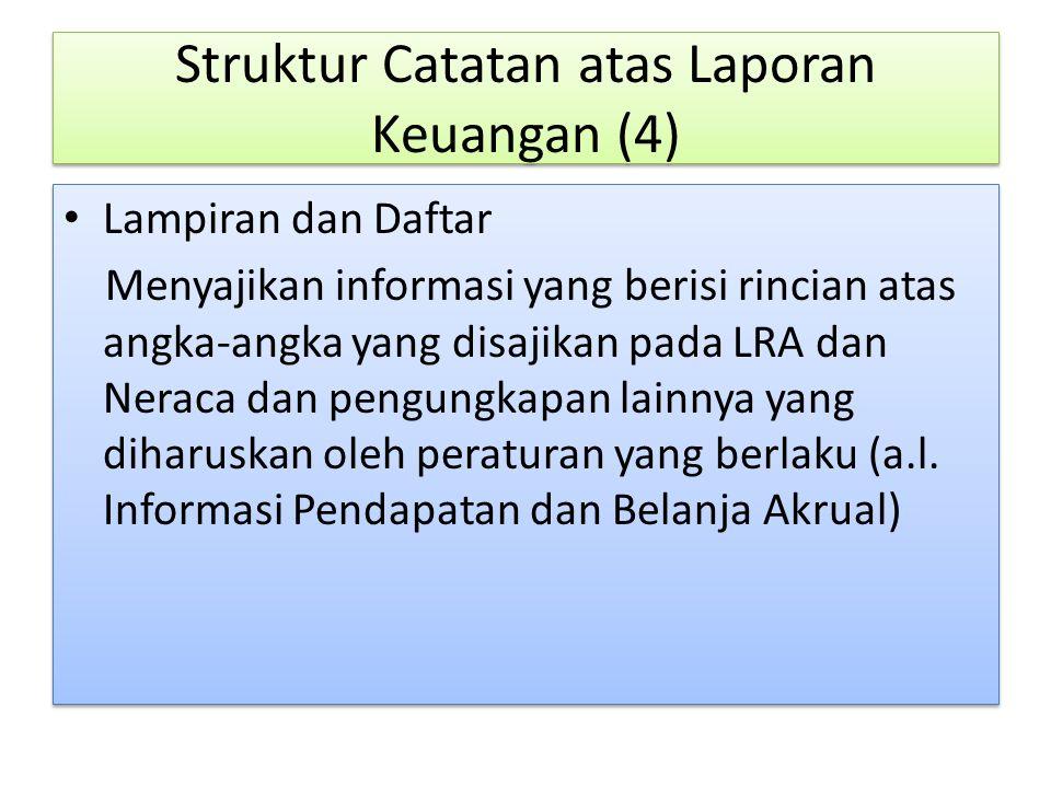 Lampiran dan Daftar Menyajikan informasi yang berisi rincian atas angka-angka yang disajikan pada LRA dan Neraca dan pengungkapan lainnya yang diharus