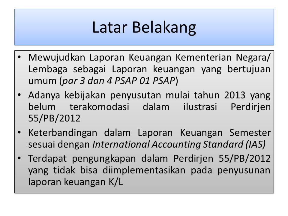 Latar Belakang Mewujudkan Laporan Keuangan Kementerian Negara/ Lembaga sebagai Laporan keuangan yang bertujuan umum (par 3 dan 4 PSAP 01 PSAP) Adanya
