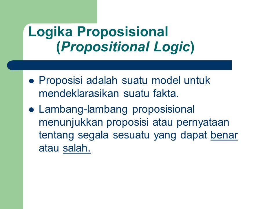 Logika Proposisional (Propositional Logic) Proposisi adalah suatu model untuk mendeklarasikan suatu fakta. Lambang-lambang proposisional menunjukkan p