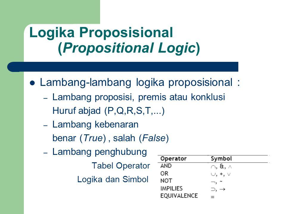 Logika Proposisional (Propositional Logic) Lambang-lambang logika proposisional : – Lambang proposisi, premis atau konklusi Huruf abjad (P,Q,R,S,T,...