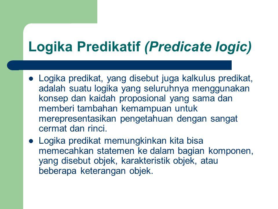 Logika predikat, yang disebut juga kalkulus predikat, adalah suatu logika yang seluruhnya menggunakan konsep dan kaidah proposional yang sama dan memb